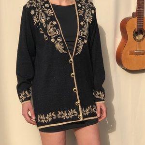 Vintage Beaded Sequin Black Gold Cardigan Sweater